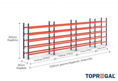 10,3m Palettenregal (Typ: PR9000) 5m hoch / 80cm tief mit 5 Ebenen für 66 Europal.
