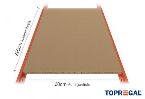 Lagerregal Regalboden aus Holz 220cm / 60cm tief