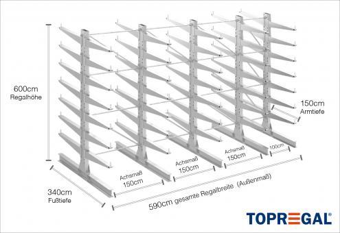 5,9m Kragarmregal 600cm hoch doppelseitig mit 7 Ebenen 150cm tief (feuerverzinkt)