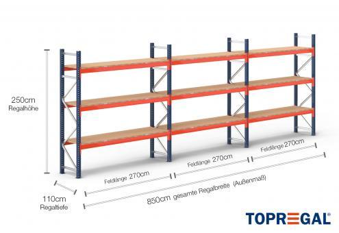 8,5m Palettenregal (Typ: PR9000) 2,5m hoch / 110cm tief mit 3 Ebenen inkl. Holzboden