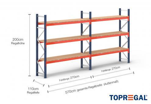 5,7m Palettenregal (Typ: PR9000) 2m hoch / 110cm tief mit 3 Ebenen inkl. Holzboden