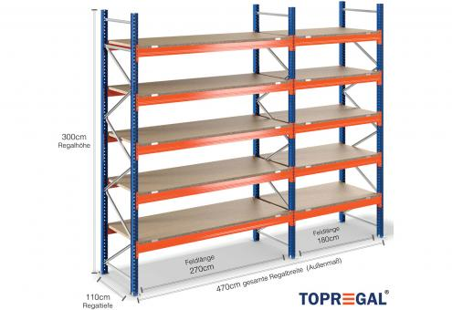 4,7m Palettenregal 3m hoch mit 5 Ebenen inkl. Holzböden