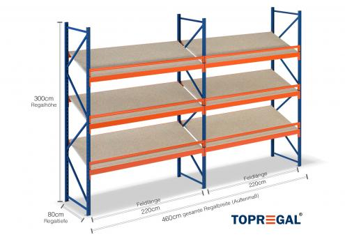 4,6m Schrägbodenregal 300cm hoch / 80cm tief mit 3 Ebenen inkl. Holzböden