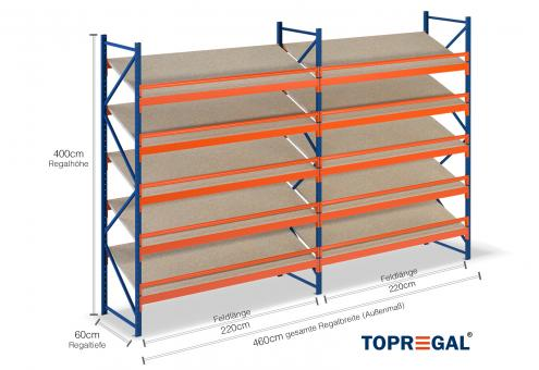 4,6m Schrägbodenregal 400cm hoch / 60cm tief mit 5 Ebenen Holzböden