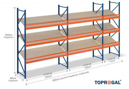 5,8m Schrägbodenregal 250cm hoch / 60cm tief mit 3 Ebenen inkl. Holzböden