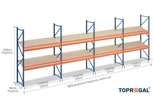9,2m Schrägbodenregal 250cm hoch / 60cm tief mit 2 Ebenen m. Holzböden