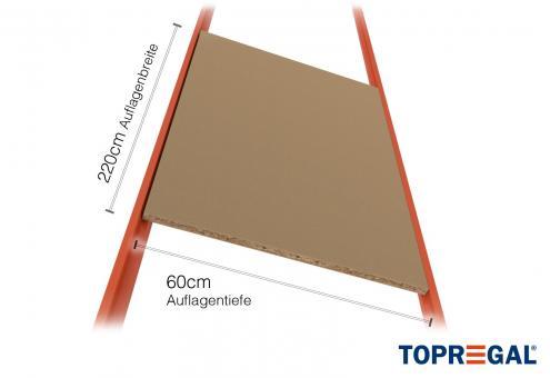 Schrägbodenregal Regalboden aus Holz 220cm / 60cm tief
