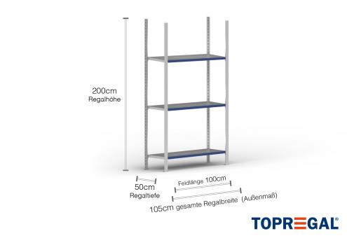 1m Fachbodenregal 200cm hoch / 50cm tief mit 3 Ebenen inkl. Stahlböden, Fachlast: 100kg