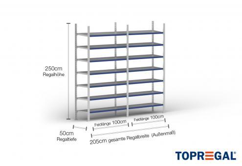 2m Fachbodenregal 250cm hoch / 50cm tief mit 7 Ebenen inkl. Stahlböden, Fachlast: 100kg