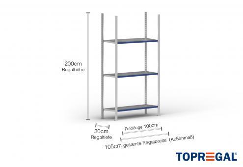 1m Ordnerregal 200cm hoch / 30cm tief mit 3 Ebenen inkl. Stahlböden, Fachlast: 100kg