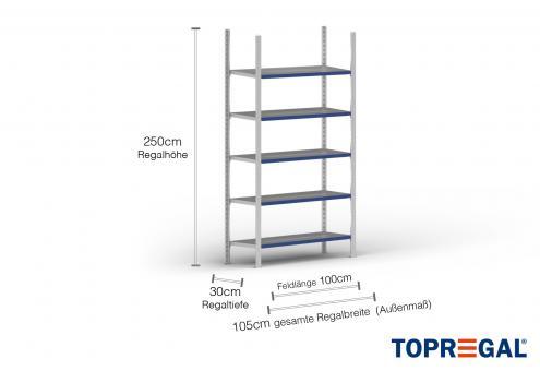 1m Ordnerregal 250cm hoch / 30cm tief mit 5 Ebenen inkl. Stahlböden, Fachlast: 100kg