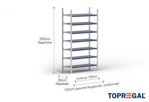 1m Ordnerregal 250cm hoch / 30cm tief mit 7 Ebenen inkl. Stahlböden, Fachlast: 200kg