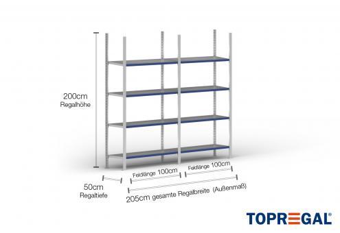 2m Fachbodenregal 200cm hoch / 50cm tief mit 4 Ebenen inkl. Stahlböden, Fachlast: 200kg