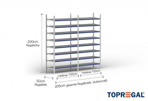 2m Fachbodenregal 200cm hoch / 50cm tief mit 8 Ebenen inkl. Stahlböden, Fachlast: 200kg