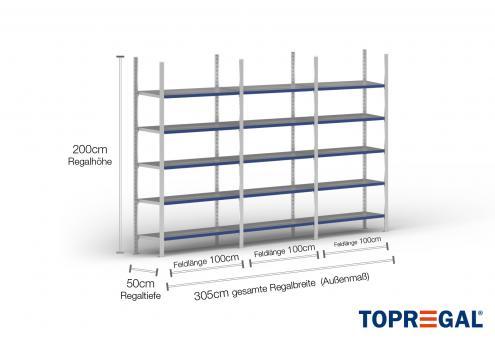 3m Fachbodenregal 200cm hoch / 50cm tief mit 5 Ebenen inkl. Stahlböden, Fachlast: 100kg