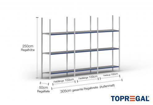 3m Fachbodenregal 250cm hoch / 50cm tief mit 3 Ebenen inkl. Stahlböden, Fachlast: 200kg