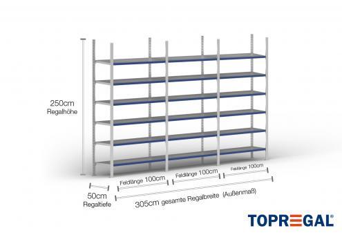 3m Fachbodenregal 250cm hoch / 50cm tief mit 6 Ebenen inkl. Stahlböden, Fachlast: 100kg