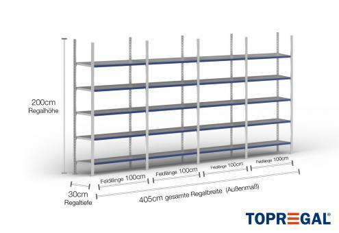 4m Ordnerregal 200cm hoch / 30cm tief mit 5 Ebenen inkl. Stahlböden, Fachlast: 200kg