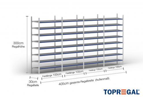 4m Ordnerregal 300cm hoch / 30cm tief mit 8 Ebenen inkl. Stahlböden, Fachlast: 200kg