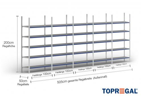 5m Fachbodenregal 200cm hoch / 50cm tief mit 5 Ebenen inkl. Stahlböden, Fachlast: 100kg