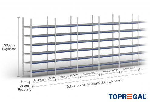 10m Ordnerregal 300cm hoch / 30cm tief mit 6 Ebenen inkl. Stahlböden, Fachlast: 100kg