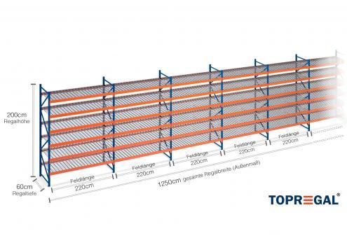 12,5m Lagerregal 200cm hoch / 60cm tief mit 6 Ebenen inkl. Gitterrost