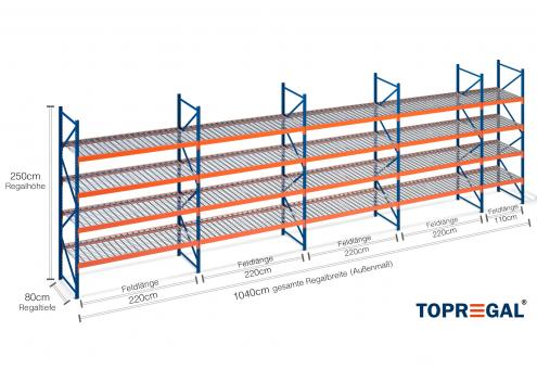 10 4m lagerregal 250cm hoch 80cm tief mit 4 ebenen inkl. Black Bedroom Furniture Sets. Home Design Ideas