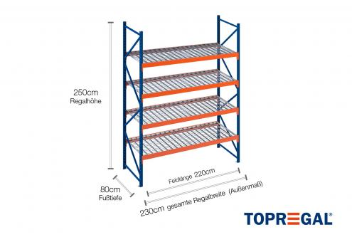 2,3m Lagerregal 250cm hoch / 80cm tief mit 4 Ebenen inkl. Gitterrost
