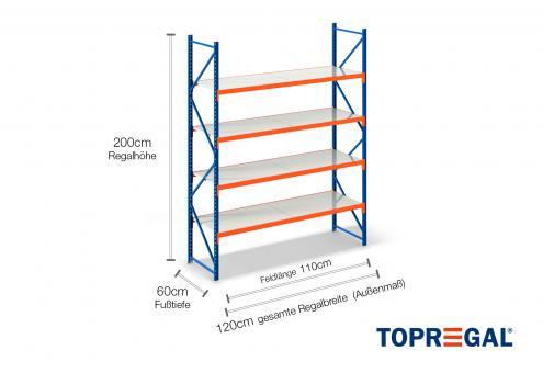 1,2m Lagerregal 200cm hoch / 60cm tief mit 4 Ebenen inkl. Stahlböden