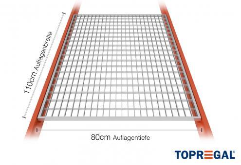 Lagerregal Gitterrost aus Stahl 110cm / 80cm tief
