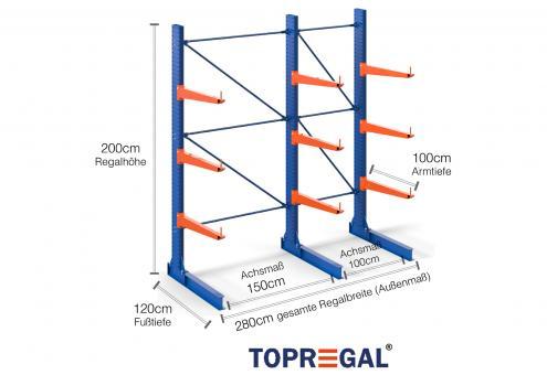 2,8m Kragarmregal 200cm hoch einseitig mit 3 Ebenen 100cm tief