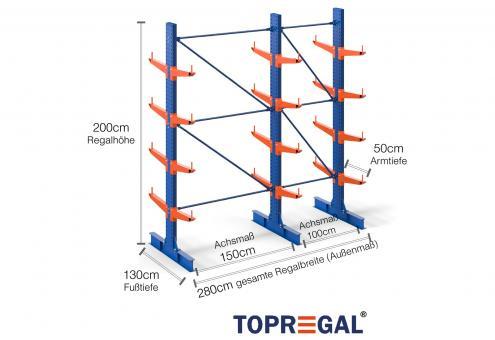 2,8m Kragarmregal (Typ:KR3000 Lackiert) 2m hoch doppelseitig mit 4 Ebenen 50cm tief