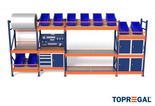 5,8m Multifunktionsregal MFR1000, 200cm hoch, 60cm tief