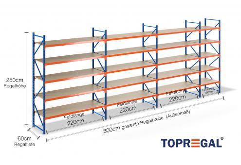 8m Lagerregal 250cm hoch / 60cm tief mit 5 Ebenen inkl. Holzböden