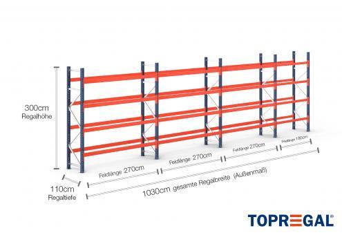 10,3m Palettenregal (Typ: PR9000) 3m hoch / 110cm tief mit 4 Ebenen für 55 Europal.