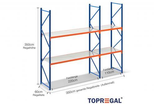 3,5m Lagerregal 350cm hoch / 60cm tief mit 2 Ebenen inkl. Stahlböden