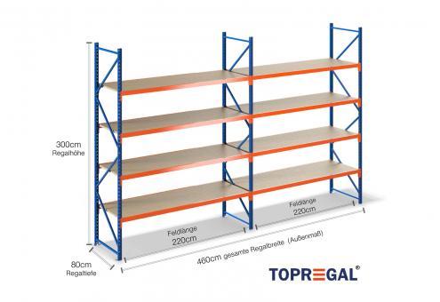 4,6m Schwerlastregal 300cm hoch/80cm tief mit 4 Ebenen inkl. Holzböden