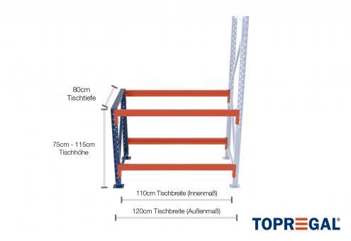 1,2m Arbeitstisch Lagerregal / Anbautisch 75 - 115cm Tischhöhe / 80cm tief mit 2 Ebenen, ohne Auflage
