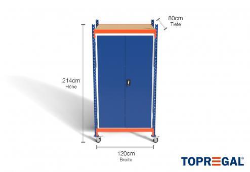 1,2m Lagerregal fahrbar, 214cm hoch, 80cm tief, inkl. Metallschrank