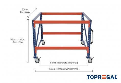 1,2m Arbeitstisch Lagerregal fahrbar 89 - 129cm Tischhöhe / 50cm tief mit 2 Ebenen, ohne Auflage