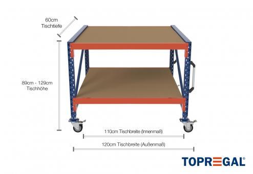 1,2m Arbeitstisch Lagerregal fahrbar 89 - 129cm Tischhöhe / 60cm tief mit 2 Ebenen inkl. Holzböden