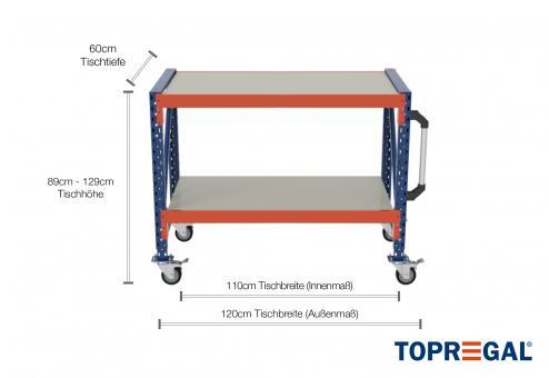 1,2m Arbeitstisch Lagerregal fahrbar 89 - 129cm Tischhöhe / 60cm tief mit 2 Ebenen inkl. Stahlböden