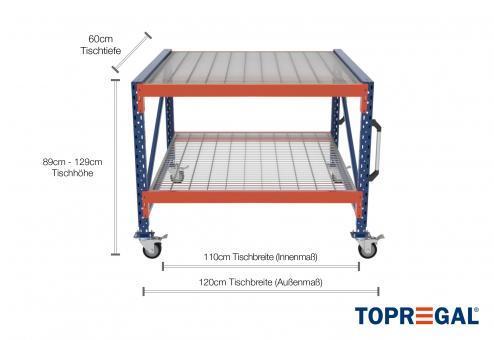 1,2m Arbeitstisch Lagerregal fahrbar 89 - 129cm Tischhöhe / 60cm tief mit 2 Ebenen inkl. Gitterrost