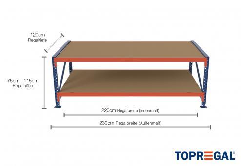 2,3m Arbeitstisch Lagerregal / Grundtisch 75 - 115cm Tischhöhe / 120cm tief mit 2 Ebenen inkl. Holzböden
