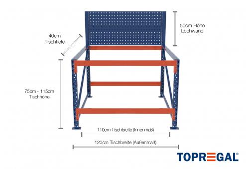1,2m Arbeitstisch Lagerregal / Grundtisch mit Lochrückwand 75 - 115cm Tischhöhe / 40cm tief mit 2 Ebenen, ohne Auflage