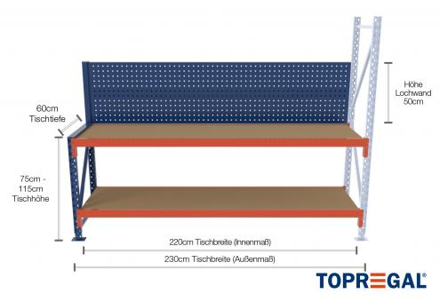 2,3m Arbeitstisch Lagerregal / Anbautisch mit Lochrückwand 75 - 115cm Tischhöhe / 60cm tief mit 2 Ebenen inkl. Holzböden