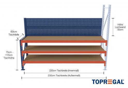 2,3m Arbeitstisch Lagerregal / Anbautisch mit Lochrückwand 75 - 115cm Tischhöhe / 60cm tief mit 3 Ebenen inkl. Holzböden