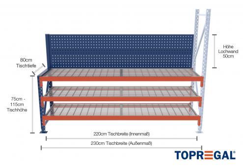 2,3m Arbeitstisch Lagerregal / Anbautisch mit Lochrückwand 75 - 115cm Tischhöhe / 80cm tief mit 3 Ebenen inkl. Gitterrost