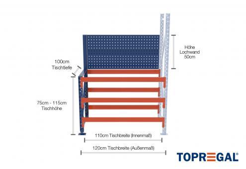 1,2m Arbeitstisch Lagerregal / Anbautisch mit Lochrückwand 75 - 115cm Tischhöhe / 100cm tief mit 3 Ebenen, ohne Auflage
