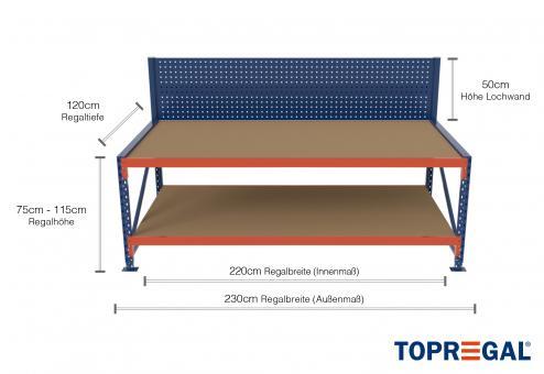 2,3m Arbeitstisch Lagerregal / Grundtisch mit Lochrückwand 75 - 115cm Tischhöhe / 120cm tief mit 2 Ebenen inkl. Holzböden
